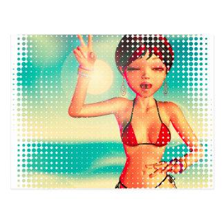 Girl in Bikini on Beach 2 Postcard