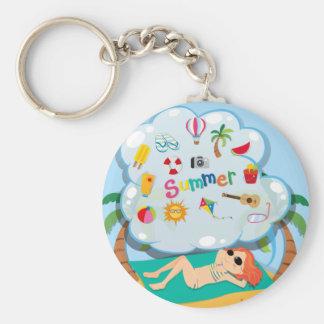 Girl in bikini sunbathing on the beach basic round button key ring