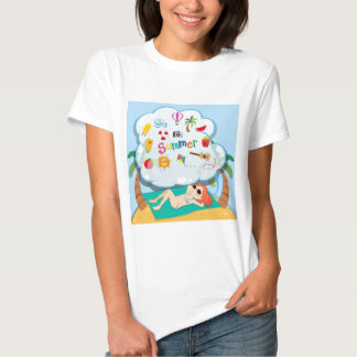 Girl in bikini sunbathing on the beach t-shirts