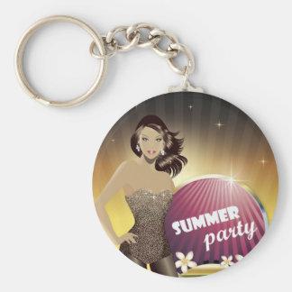 Girl in bikini vector (3)jpg VEGAS HAWAII SUMMER Basic Round Button Key Ring