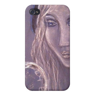 Girl in blue holding a crystal ball iphone iPhone 4/4S case