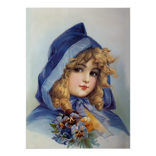 Girl in Blue Hood Print