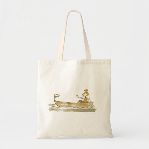 Girl in boat canvas bags