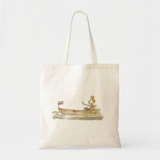 Girl in boat budget tote bag