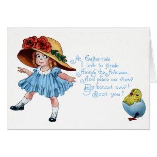 Girl in Bonnet & Blue Dress Vintage Easter Card