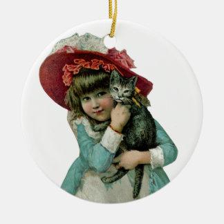 Girl in Bonnet with Christmas Kitten Christmas Ornament