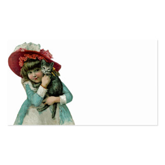 Girl in Bonnet with Christmas Kitten Pack Of Standard Business Cards