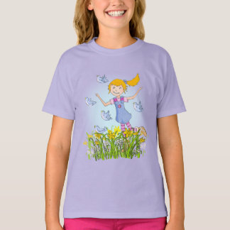 Girl in daffodils chasing birds spring t-shirt
