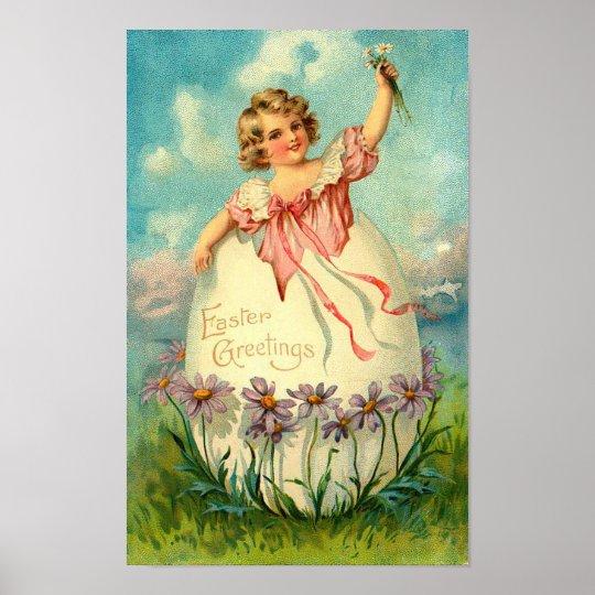 Girl In Egg Vintage Easter Poster