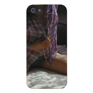 Girl in Flannel Shirt kneeling on a Bed Cover For iPhone 5/5S