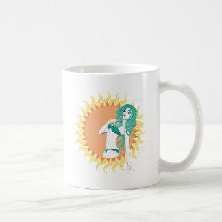 Girl in green bikini basic white mug