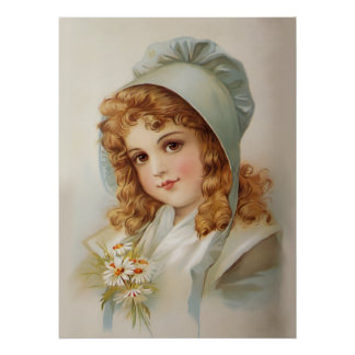Girl in Green Bonnet Print