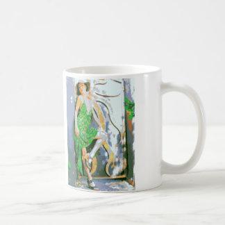 Girl in green dress mug