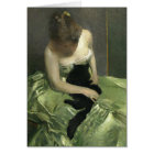 Girl in Green Dress with Black Cat Card