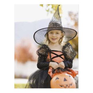 Girl in Halloween costume Postcard