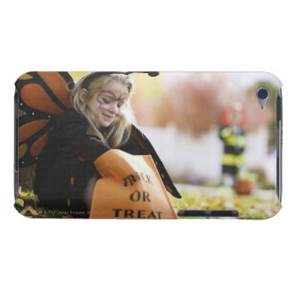 Girl in Halloween costume with bag of candy Barely There iPod Covers