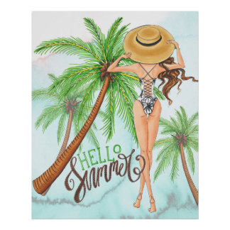Girl in Hat Fashion Illustration Hello Summer Poster