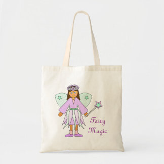 Girl in Lilac and Green Fairy Costume Budget Tote Bag