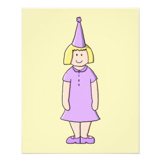 Girl in Lilac Color Birthday Party Outfit. Flyer