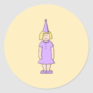 Girl in Lilac Color Birthday Party Outfit Sticker