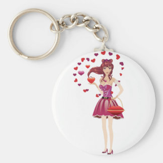 Girl in lovely outfit basic round button key ring