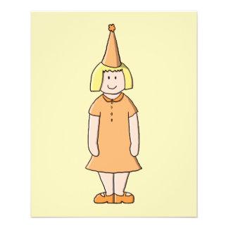Girl in Orange Dress and Birthday Party Hat. 11.5 Cm X 14 Cm Flyer
