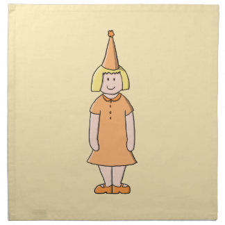 Girl in Orange Dress and Birthday Party Hat. Napkin