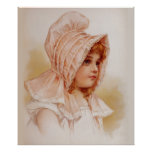 Girl in Pink Bonnet Poster