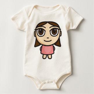 Girl in Pink-Brunette-Brown Eyes Baby Bodysuit