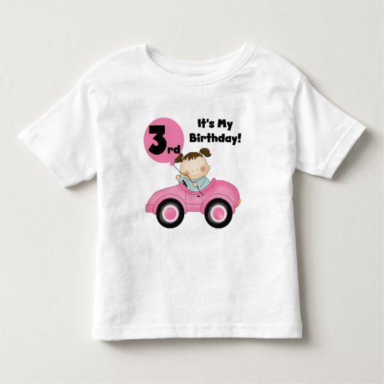 Girl in Pink Car 3rd Birthday Tshirts and
