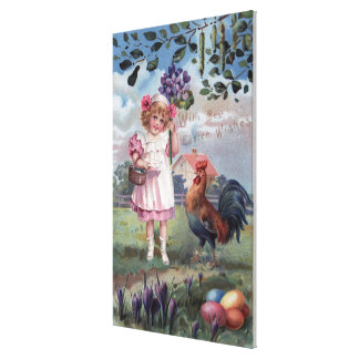Girl in Pink Holding Purple Flowers Canvas Print