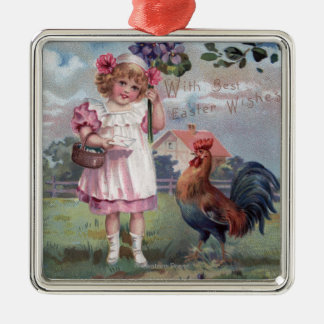 Girl in Pink Holding Purple Flowers Silver-Colored Square Decoration