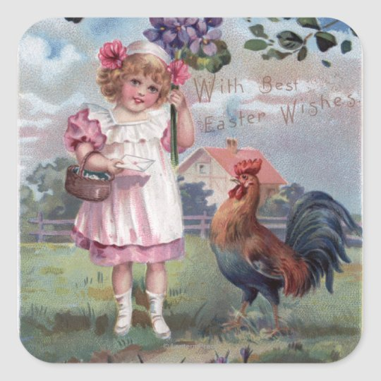 Girl in Pink Holding Purple Flowers Square Sticker