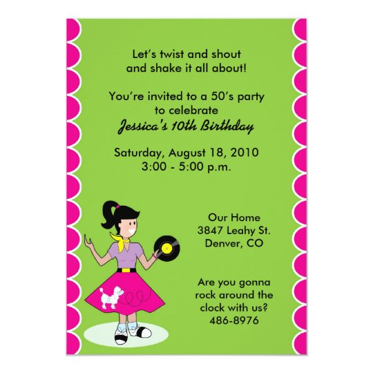 Girl in Poodle Skirt Invitations