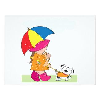 Girl in Rain 11 Cm X 14 Cm Invitation Card