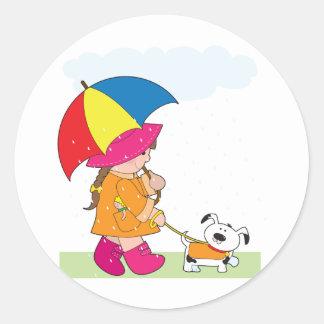 Girl in Rain Classic Round Sticker