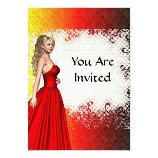 Girl in red dress 13 cm x 18 cm invitation card