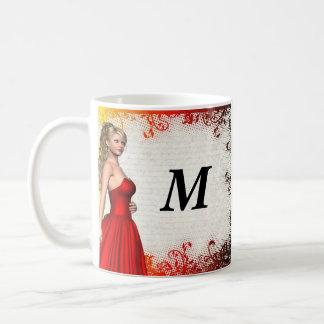 Girl in red dress basic white mug