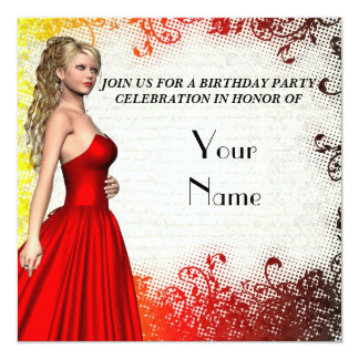 Girl in red dress birthday party 13 cm x 13 cm square invitation card
