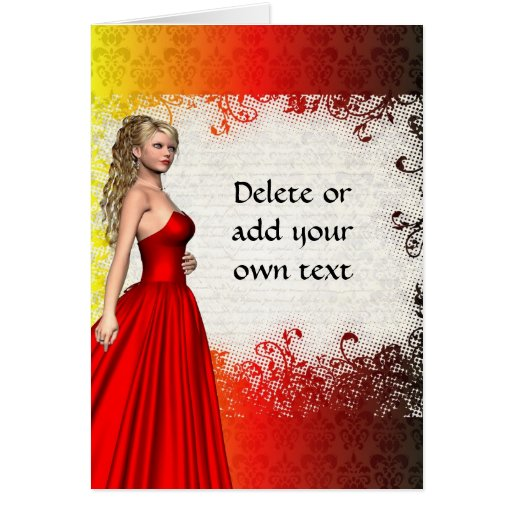 Girl in red dress greeting cards