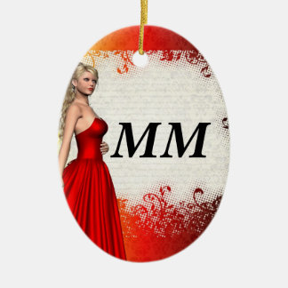 Girl in red dress christmas ornament
