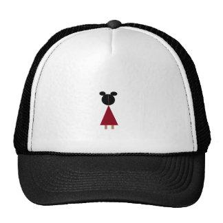 Girl in red dress mesh hat