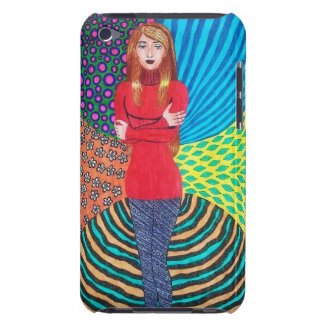 Girl In Red Hugging Herself Barely There iPod Cases