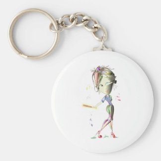 Girl in Red Stiletto Shoes Plays Baseball! Key Ring