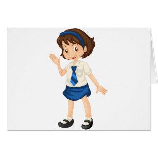 Girl in school dress greeting card