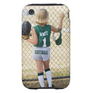 Girl in softball uniform tough iPhone 3 cases