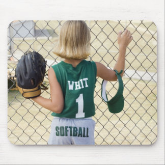 Girl in softball uniform mouse pad