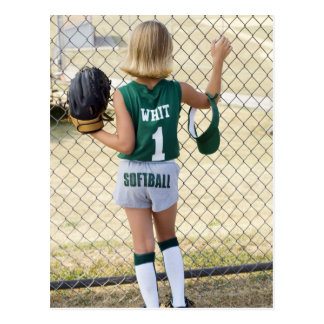Girl in softball uniform postcard