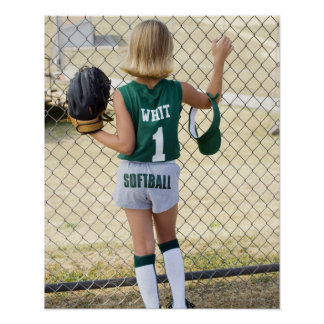Girl in softball uniform poster