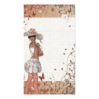 Girl in summer hat business cards